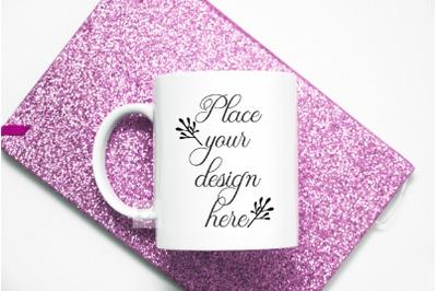 white coffee mug mock up 11 oz sublimation  cup pink modern mockup
