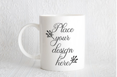 Elegant white coffee mug mock up 11 oz sublimation psd cup