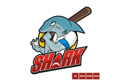 Baseball Mascot - Blue Shark