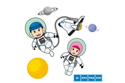 Moslem Astronaut Kids - Cartoon Vector Illustration