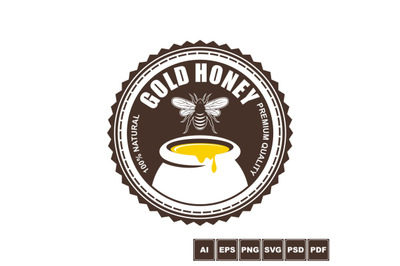 Gold Honey Label Template Design