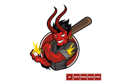 Baseball Mascot - Fire Demon