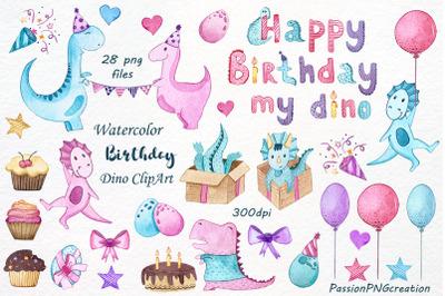 Watercolor Happy Birthday Dino