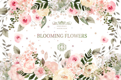 Watercolor Blooming Flowers