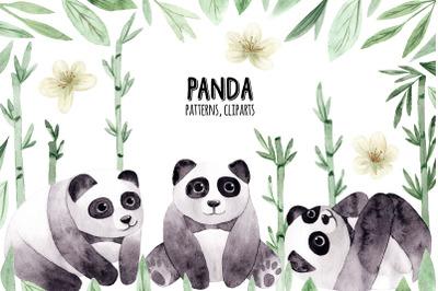 Watercolor Panda. Patterns and Cliparts
