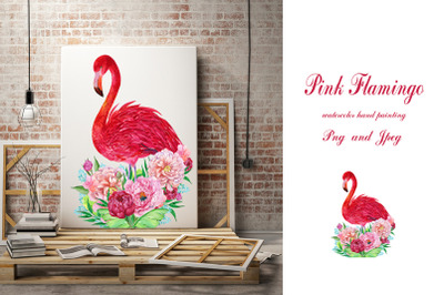 Flamingo and flowers Watercolor