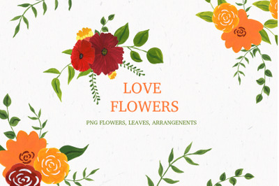 Love flowers. Acrylic collection