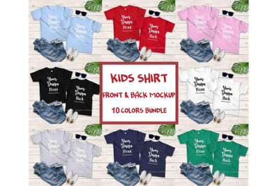 Kids Front & Back Tshirt Mockup Bundle, Blank Teen Shirt Set