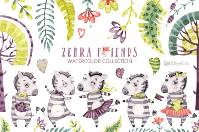 Cute Zebra Friends. Kids naive horse. Watercolor baby animals clipart