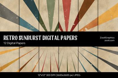 Retro Sunburst Digital Papers