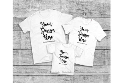 Matching Family White T-Shirts Mockup, Parents Kids Shirts
