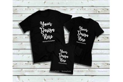 Matching Family Black T-Shirts Mockup, Parents Kids Shirts