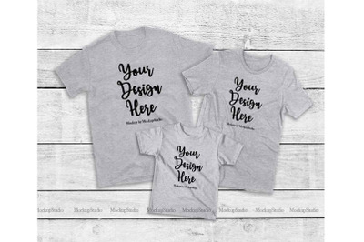 Matching Family Gray T-Shirts Mockup, Parents Kids Shirts