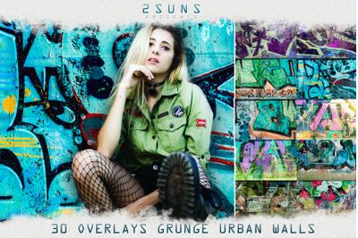 30 Urban grunge walls overlays  graffity