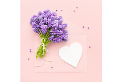 Flowers and Happy Mother's Day card Heart shape tag mockup