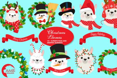 Christmas Llama Clipart AMB-2101