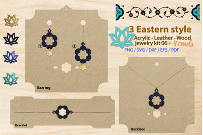 Eastern style acrylic leather wood jewelry kit 06