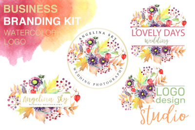 LOGO with asters, maple leaves and physalis Watercolor png
