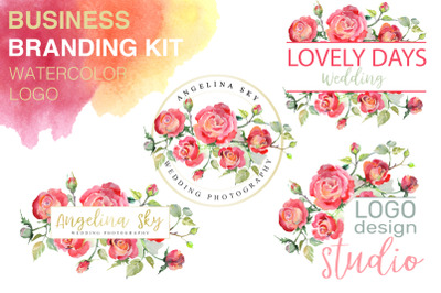 LOGO with red roses Watercolor png