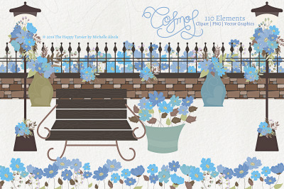 Cosmos 02 - Blue Flower Clipart & Vector