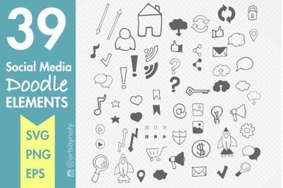 39 Social Media Doodle Elements