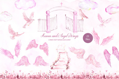 Watercolor clip Art Pink Heaven and Angel's Wings