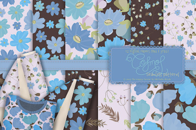 Cosmos 02 - Blue Seamless Patterns & Digital Papers