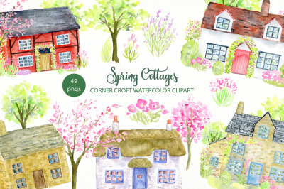 Spring Cottages Clipart