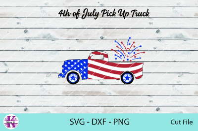 4th July Pick Up Truck - SVG DXF PNG