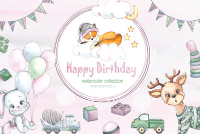 Happy Birthday watercolor collection