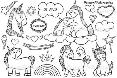 Doodle Unicorn Clipart