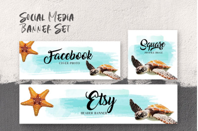 Set of  social media templates with copy space, sea turtle & starfish