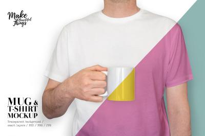 Isolated Mug and T-shirt mockup / Mug mockup / Male mug mockup