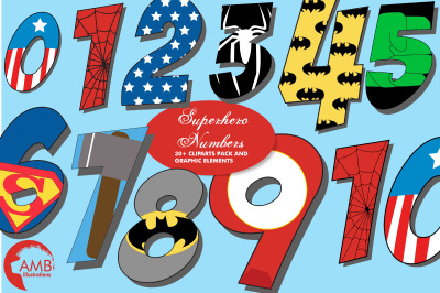 Superhero Numbers Clipart AMB-2110