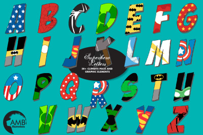 Superhero Letters Clipart AMB-2109
