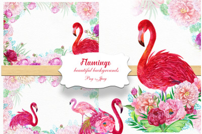 Flamingos and flowers backgrounds.Watercolor. Flowers,Tropical backgro