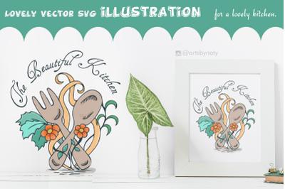 The Beautiful Kitchen Vector SVG Illustration