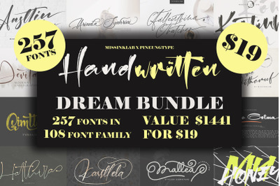 257 Handwritten Dream Bundle Fonts!