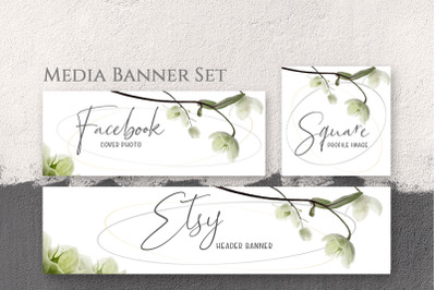 Set oftemplate banners with copy space & white watercolor rose flower.
