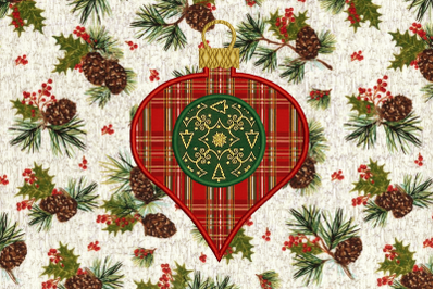 Monogram Circle Glass Onion Holiday Ornament | Applique Embroidery