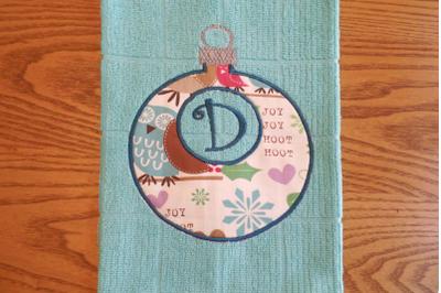 Monogram Circle Christmas Ornament | Applique Embroidery