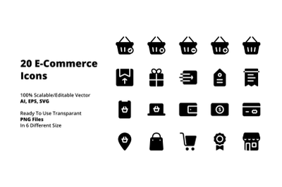 Black Solid E-Commerce icons