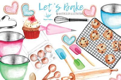 Let's Bake : watercolor illustration set of 19
