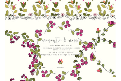 Hand-Draw Flowers Clipart - Individual Elements