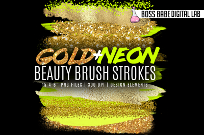 Gold and Neon Beauty Brush Strokes