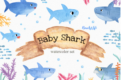 Baby Shark Watercolor Clipart