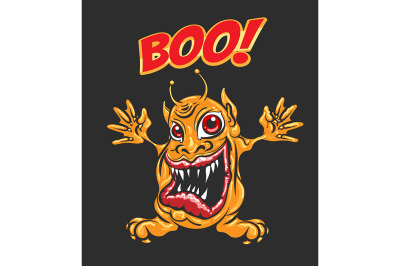 Cartoon Monster with Wording Boo