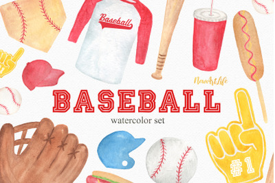 Baseball Watercolor Clipart