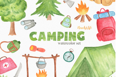Camping Watercolor Clipart Set