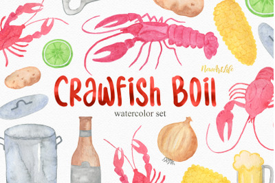 Watercolor Crawfish Boil Set